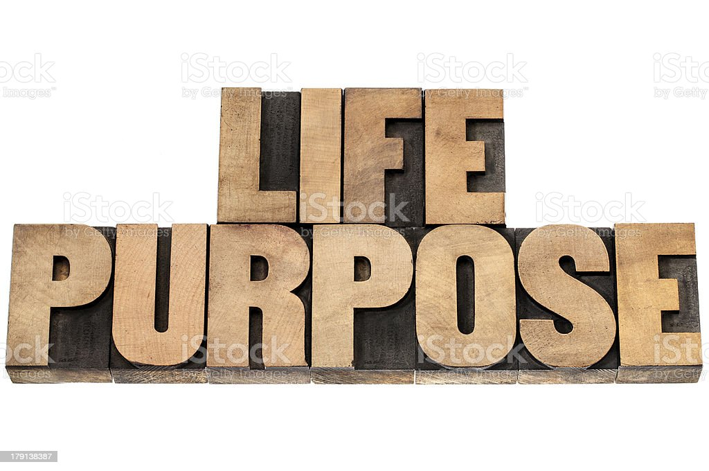 life purpose in wood type royalty-free stock photo