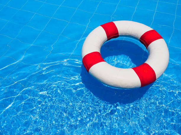 Life ring in swimming pool. stock photo
