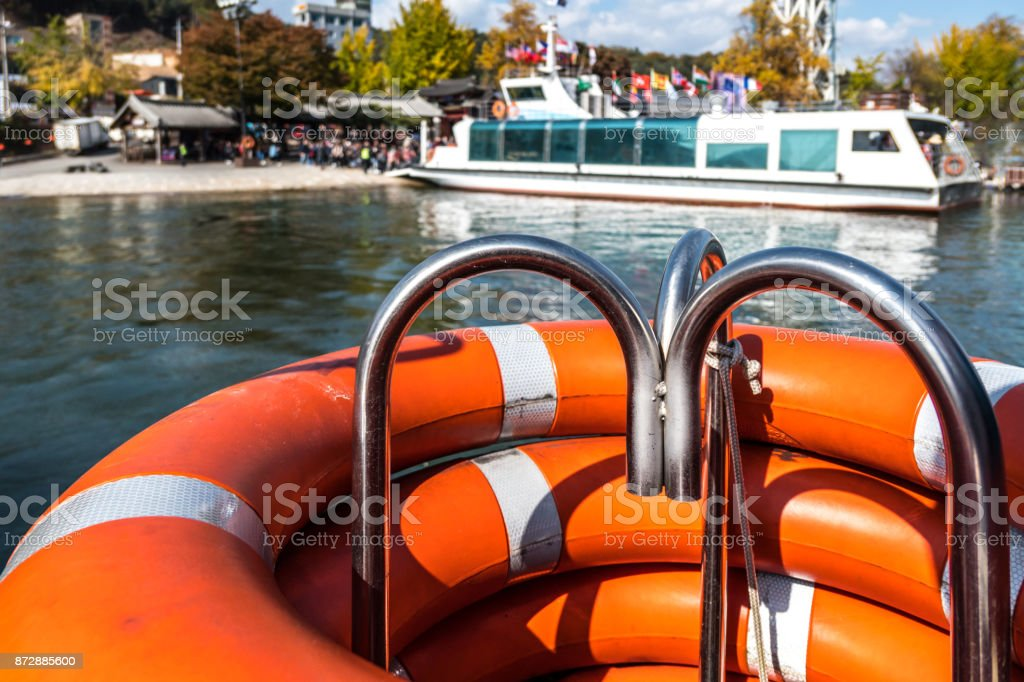 Life rings and passenger ferry Nami Island in South Korea stock photo