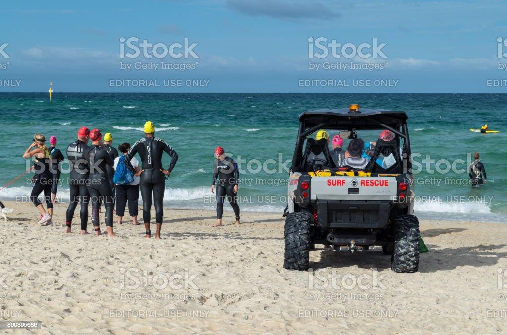Life Saving Club vehicle patrolling Edithvale Beach in Melbourne stock photo