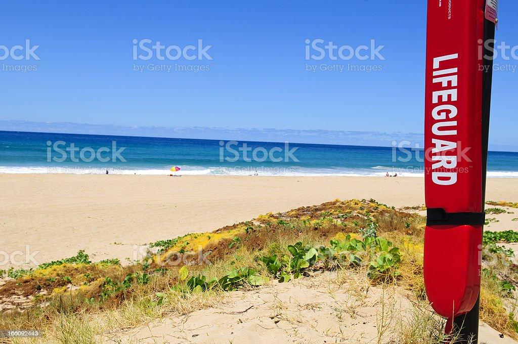 Life saving equipment at remote beach royalty-free stock photo