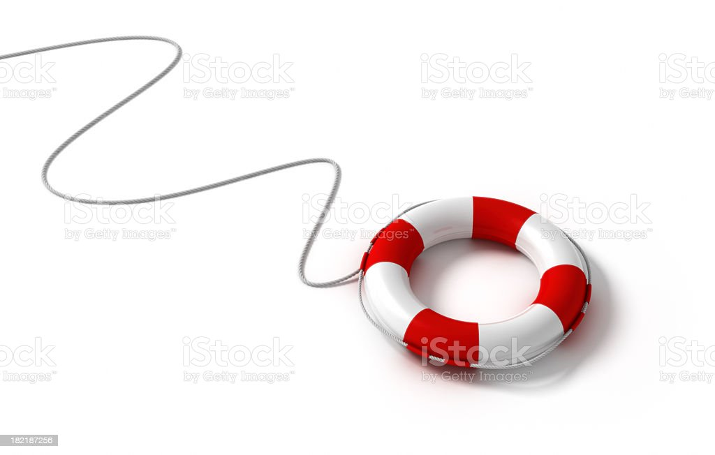 Life saving ring attached to a rope  Royalty-free 3d rendering of red and white life-saver on a rope isolated on white floor. Activity Stock Photo