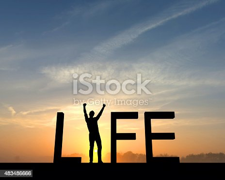 The word life is silhouetted against an orange and blue sunset. The I in the word is made from a figure with their arms raised up in the air in a successful victory pose.