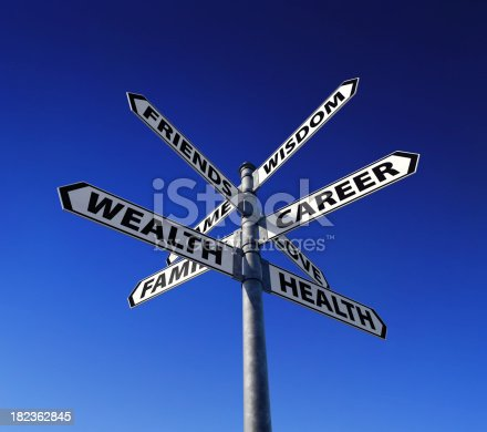 Signpost presenting variety of life values.Precise clipping path included for easy background change.