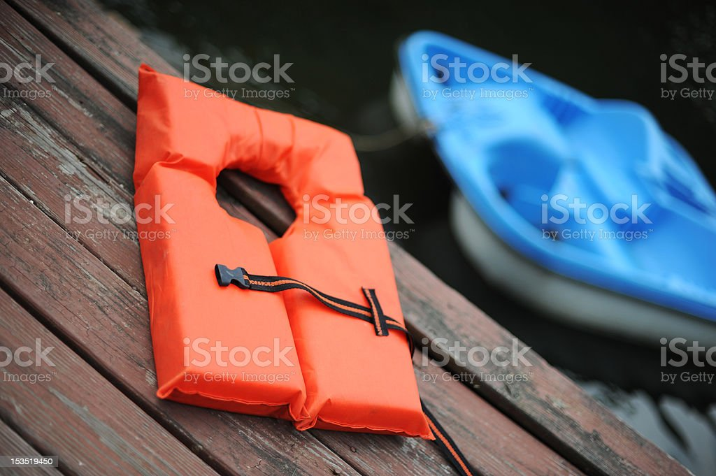 Life Vest and Boat royalty-free stock photo