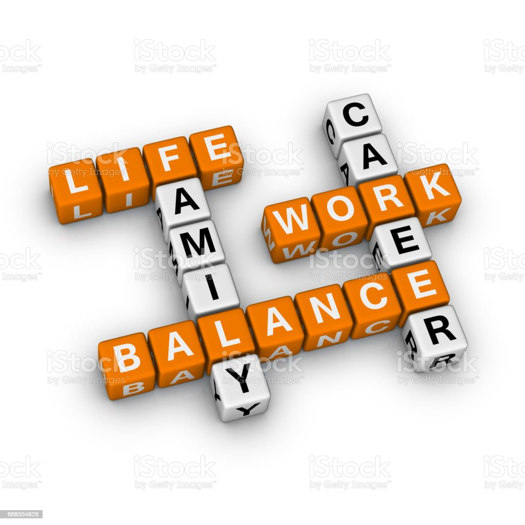 Life Work Balance Crossword Puzzle. stock photo