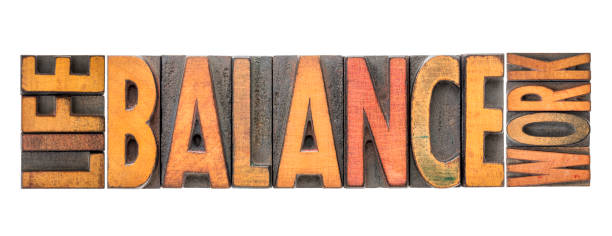 life work balance word abstract in wood type stock photo