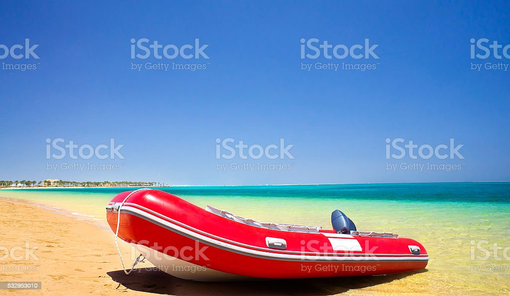 Lifeboat and coastline summertime. stock photo
