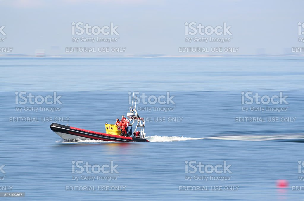 lifeboat at full speed stock photo