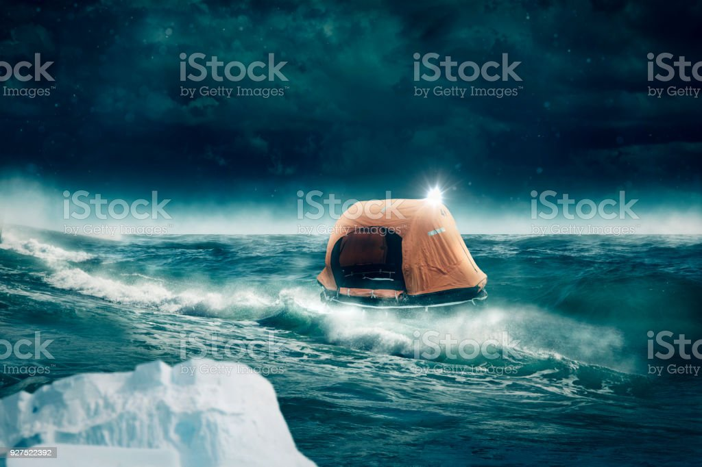 lifeboat drives on the sea stock photo