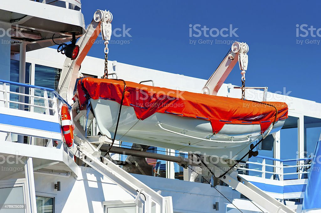 lifeboat hanging on a big ship royalty-free stock photo