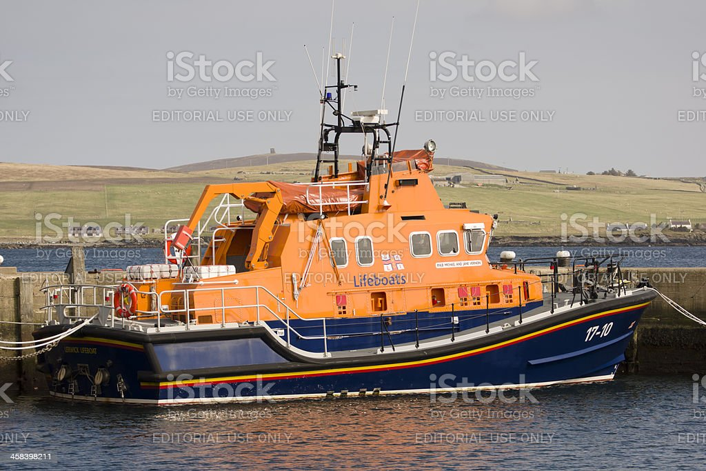 Lifeboat in Lerwick harbour royalty-free stock photo