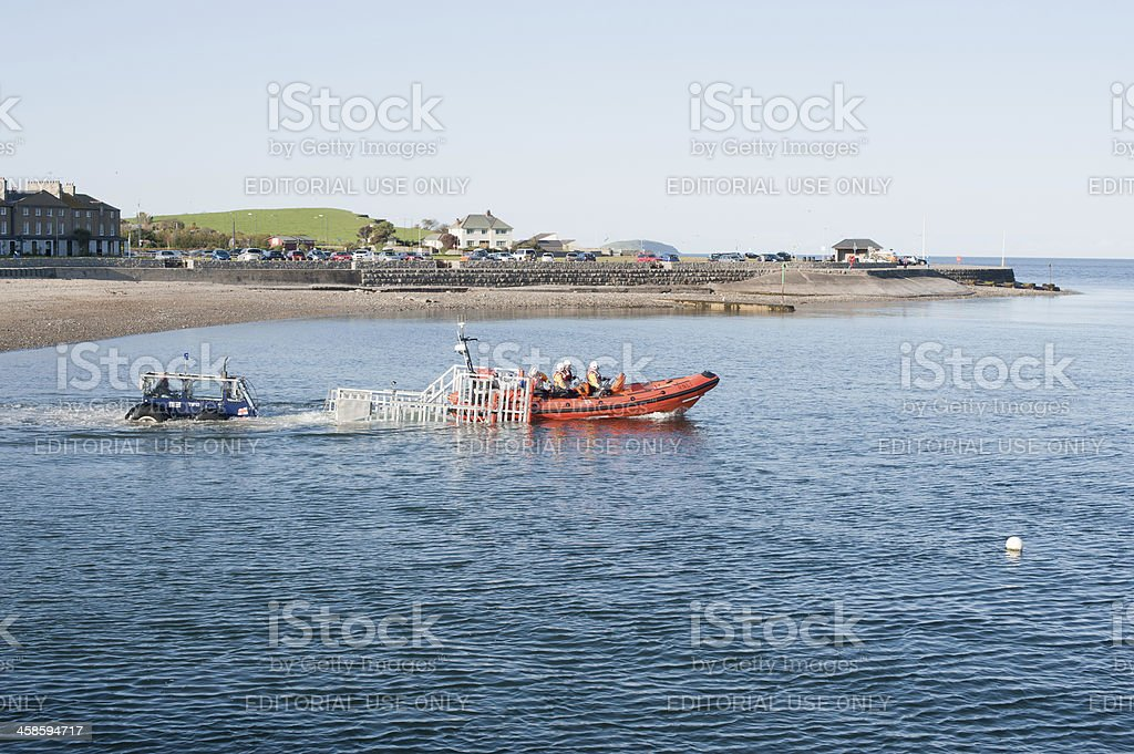 RNLI Lifeboat Launch royalty-free stock photo