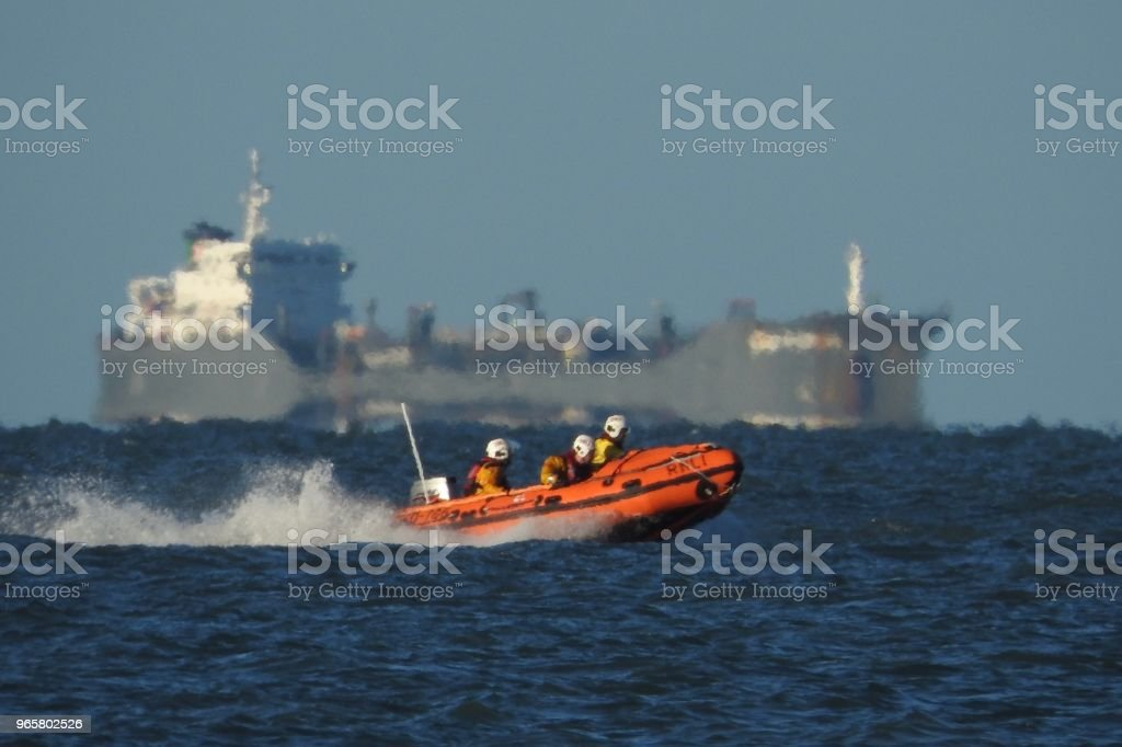 Reddingsboten van de RNLI beetje Haven - Royalty-free Container Stockfoto