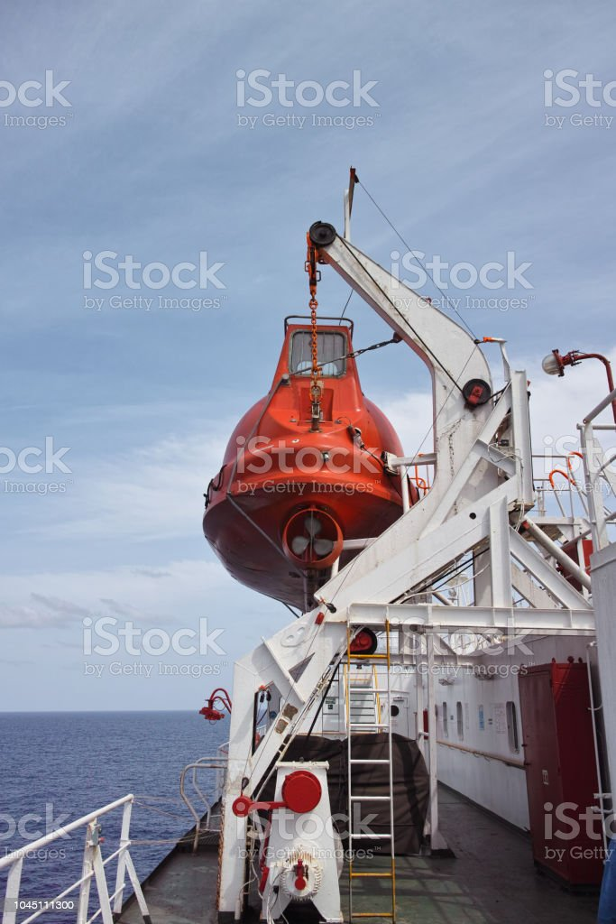 Lifeboat Of Big Roro Vessel Stock Photo - Download Image Now
