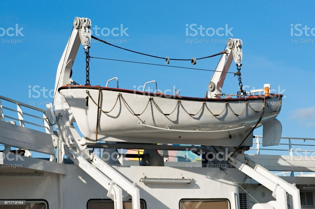 Lifeboat on a boat hoisting engine stock photo