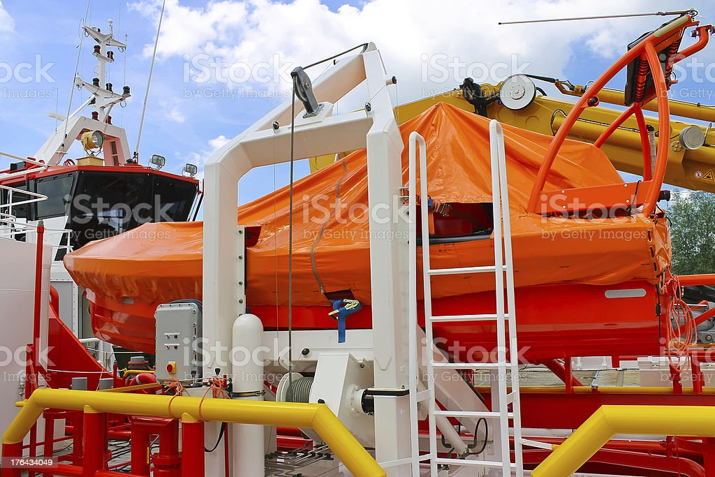 Lifeboat on a modern ship royalty-free stock photo