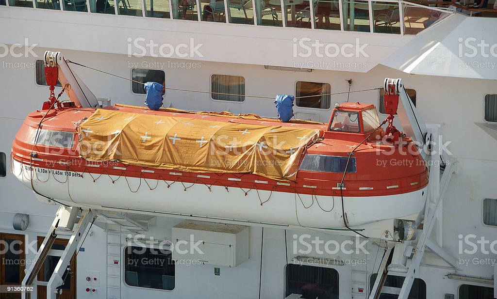 Lifeboat on ocean liner royalty-free stock photo
