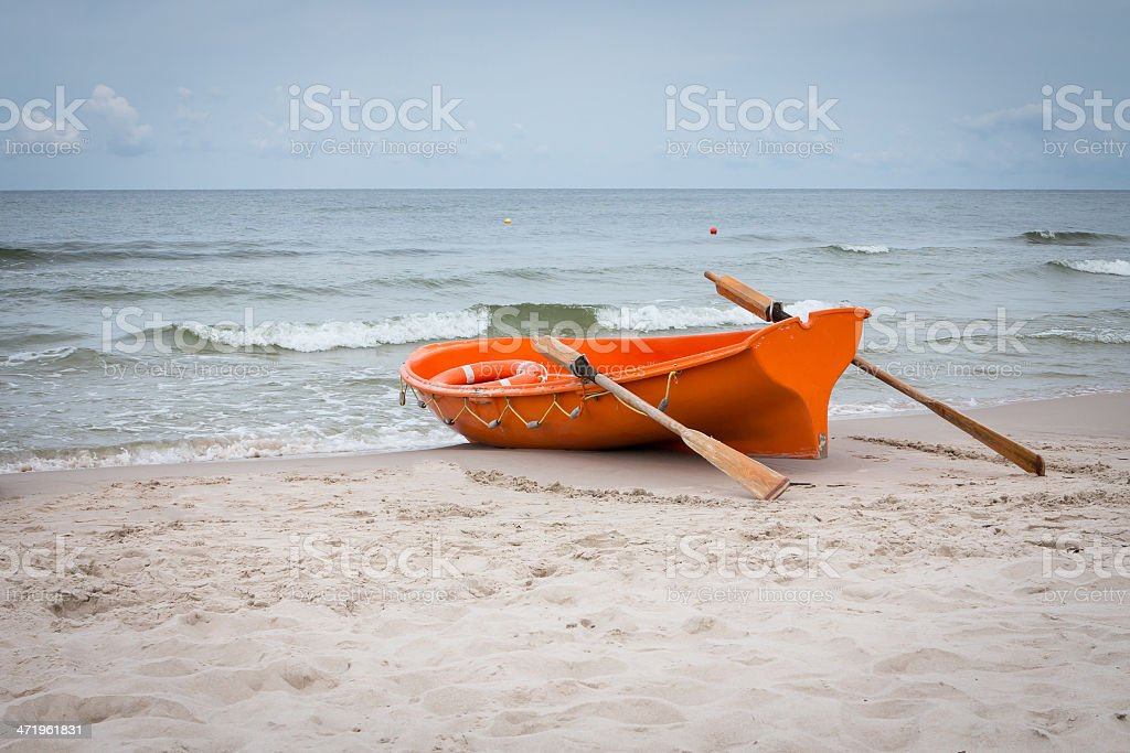 Lifeboat on the Baltic seashore stock photo