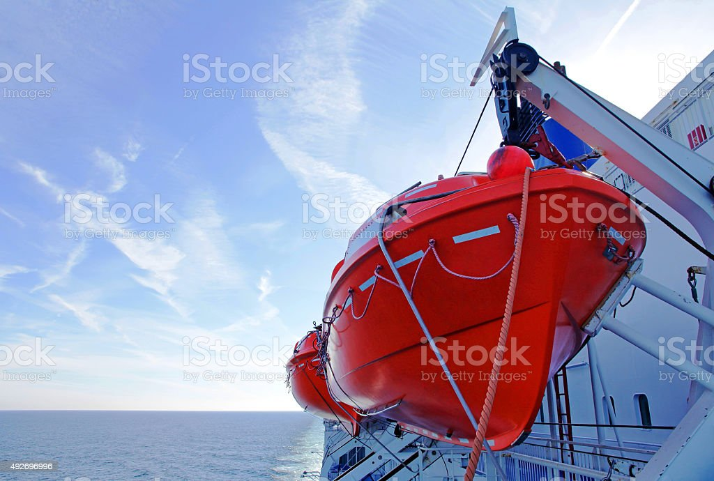 Lifeboats on a ferry stock photo