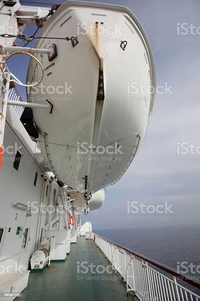 Lifeboats on ship royalty-free stock photo