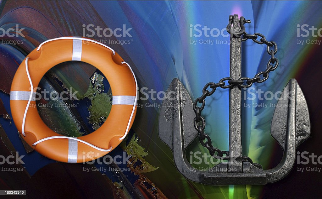 Lifebuoy and anchor royalty-free stock photo