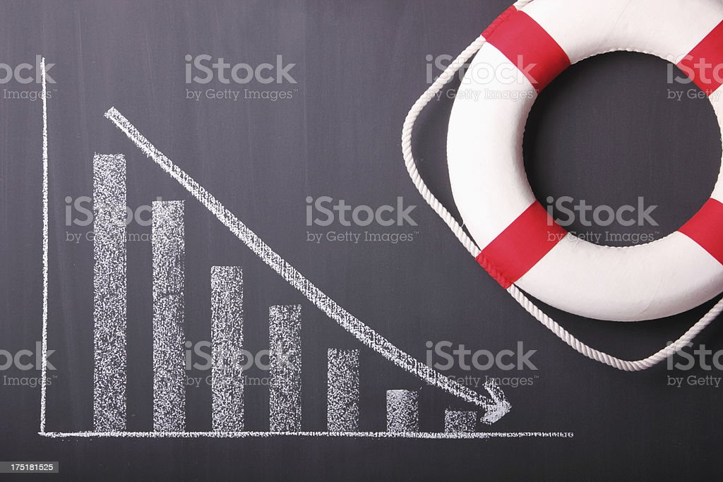 Lifebuoy and Business Chart royalty-free stock photo