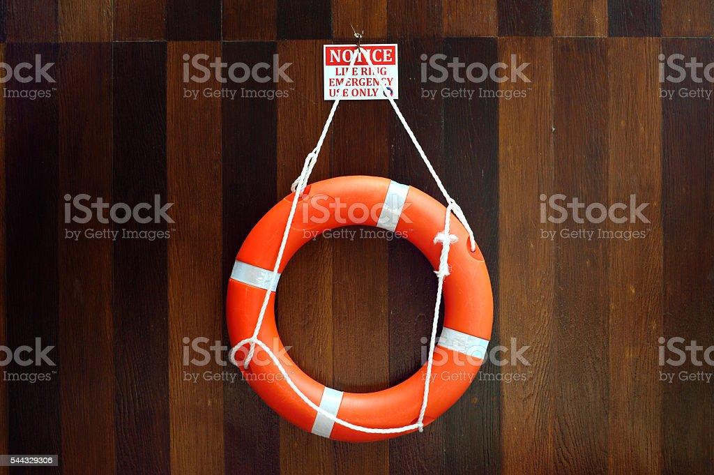 Lifebuoy hang on a wooden wall stock photo