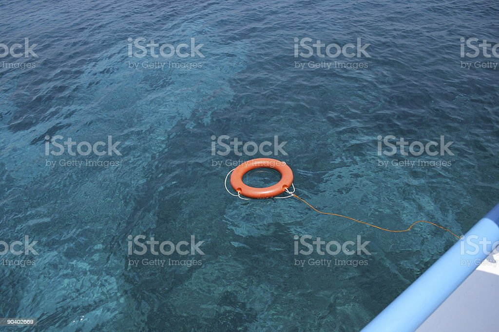 LIfebuoy in the sea royalty-free stock photo