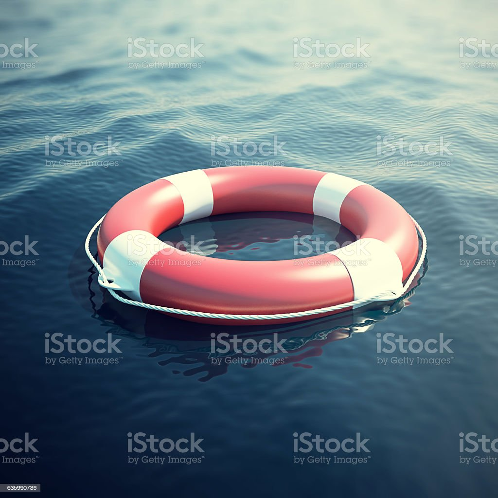 Lifebuoy in the sea, the ocean. 3d illustration stock photo