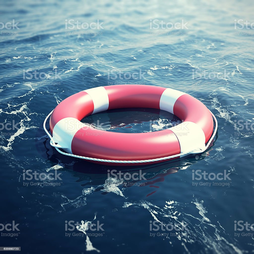 Lifebuoy in the sea, the ocean with focus effect. 3d stock photo