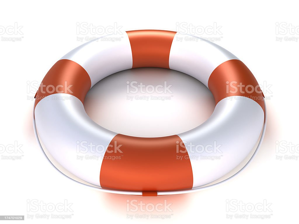 Lifebuoy - isolated on white with clipping path royalty-free stock photo