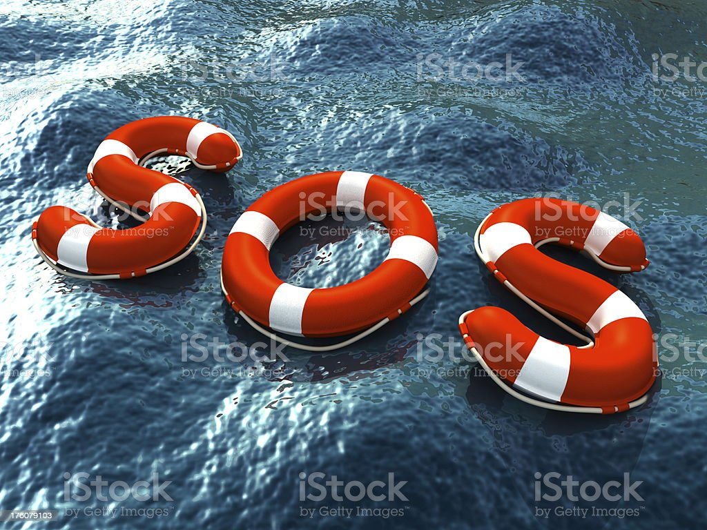 Lifebuoy letters forming SOS word royalty-free stock photo
