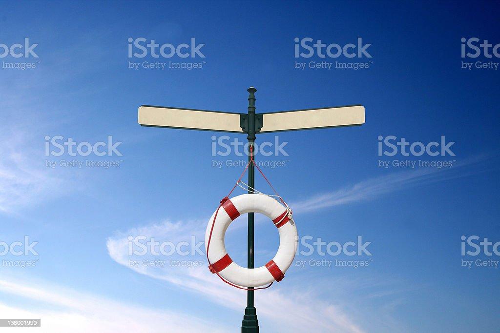 Lifebuoy on blank signs royalty-free stock photo