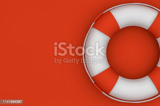 3d rendering Lifebuoy on red background, rescue, safety concept. Minimal design.