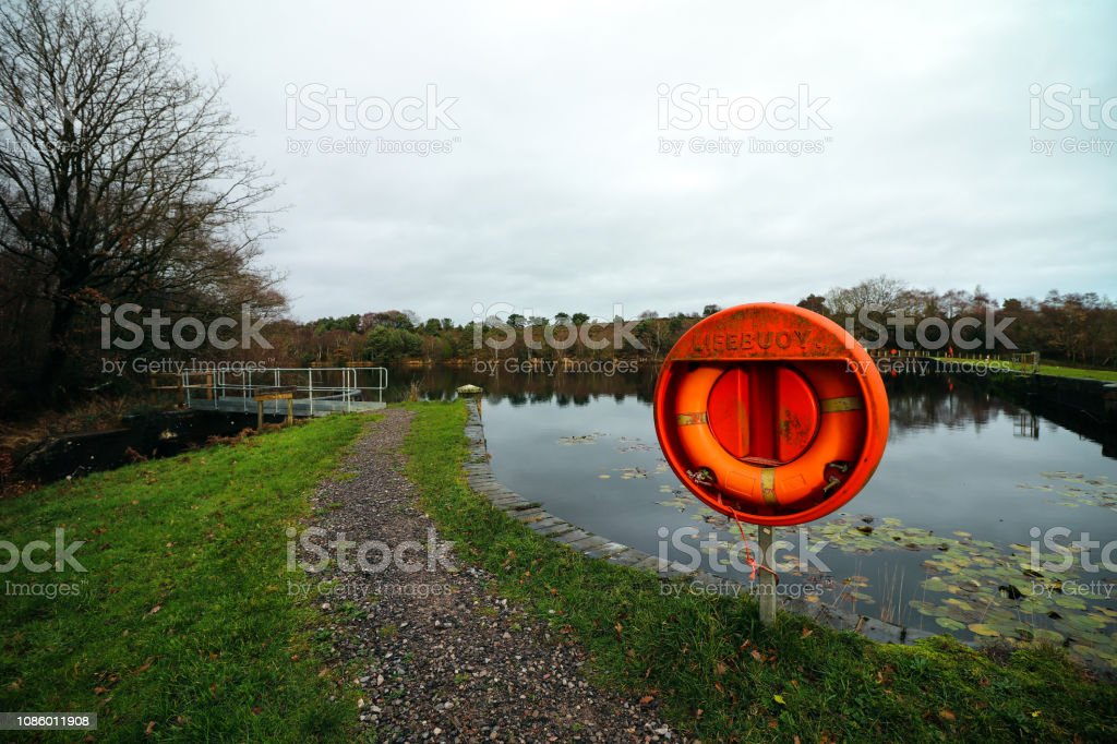 Lifebuoy ring at a river - Royalty-free Accidents and Disasters Stock Photo
