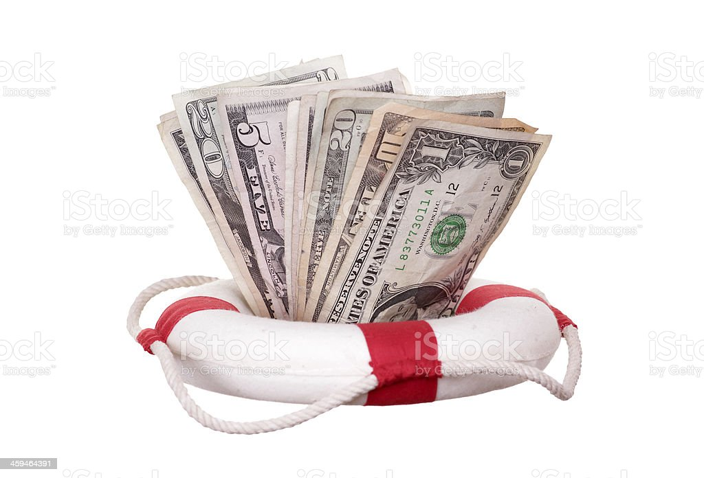 lifebuoy with dollars stock photo