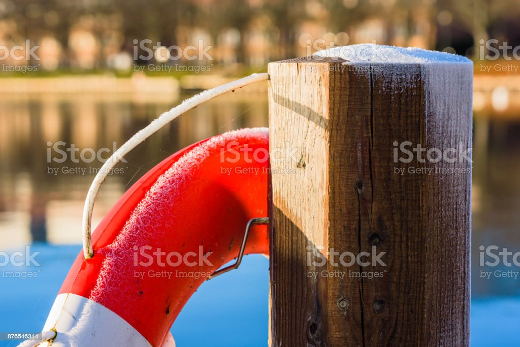 Lifebuoy with frost stock photo