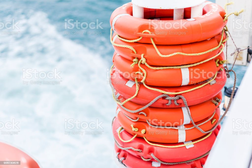Lifebuoys at the stern of the ferry on the Bosphorus stock photo