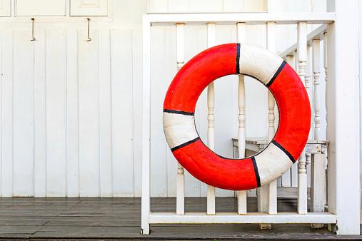 istock Lifebuoys on Wooden fence 523093539