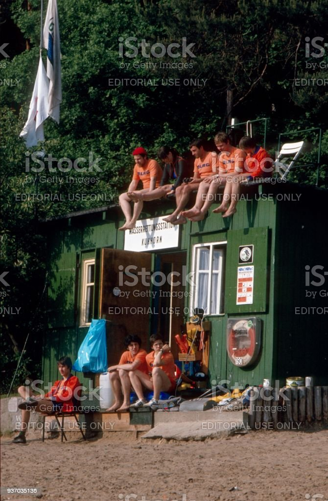 Lifeguard at the Havel bathing area 'Kuhhorn', Berlin West stock photo