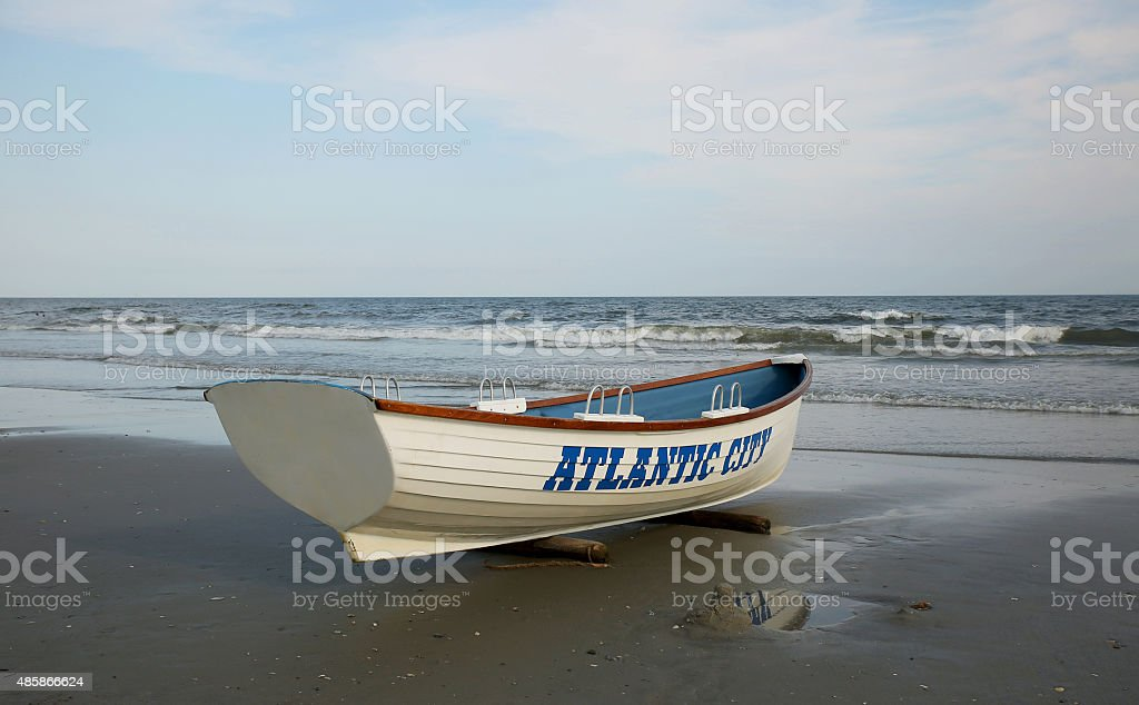 Lifeguard boat on the beach. Atlantic City, NJ stock photo