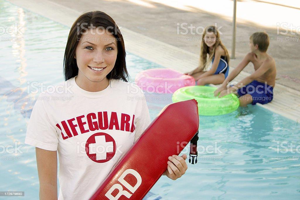 Lifeguard By Pool stock photo