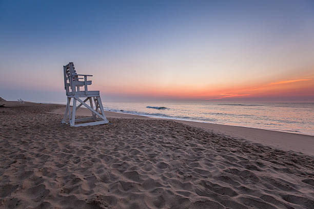 Lifeguard Chair at Coast Guard Beach stock photo
