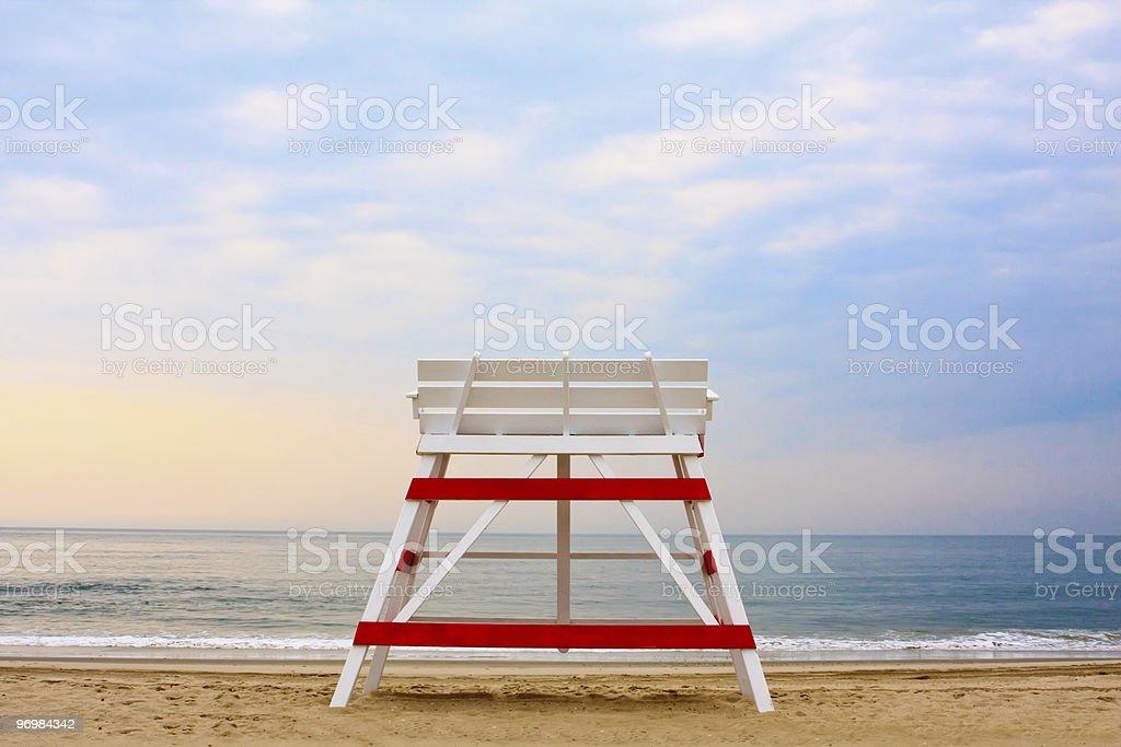 Lifeguard chair on an empty beach stock photo