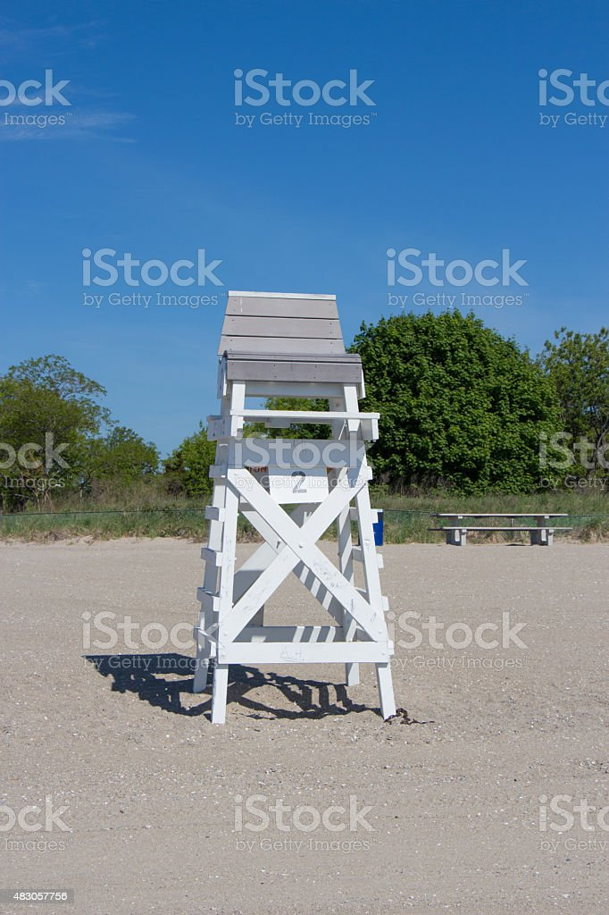 Lifeguard Chair on beach stock photo