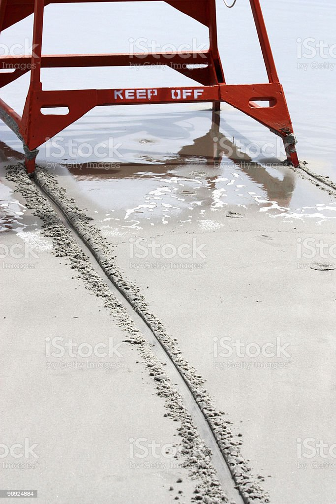 Lifeguard Chair Tracks royalty-free stock photo