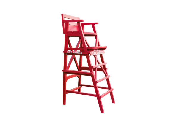 Lifeguard chair,isolated on white background with clipping path. stock photo