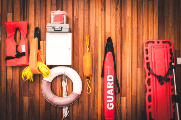 lifeguard equipment and rescue equipment for the rescue of drowning lifeguard equipment and rescue equipment for the rescue of drowning lifeguard stock pictures, royalty-free photos & images