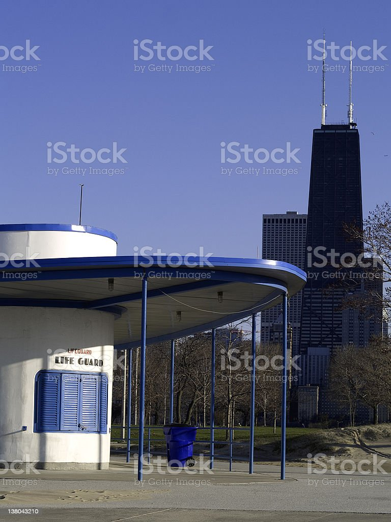 Lifeguard House by Lake Michigan stock photo